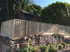 Featheredge Fence Stone Wall