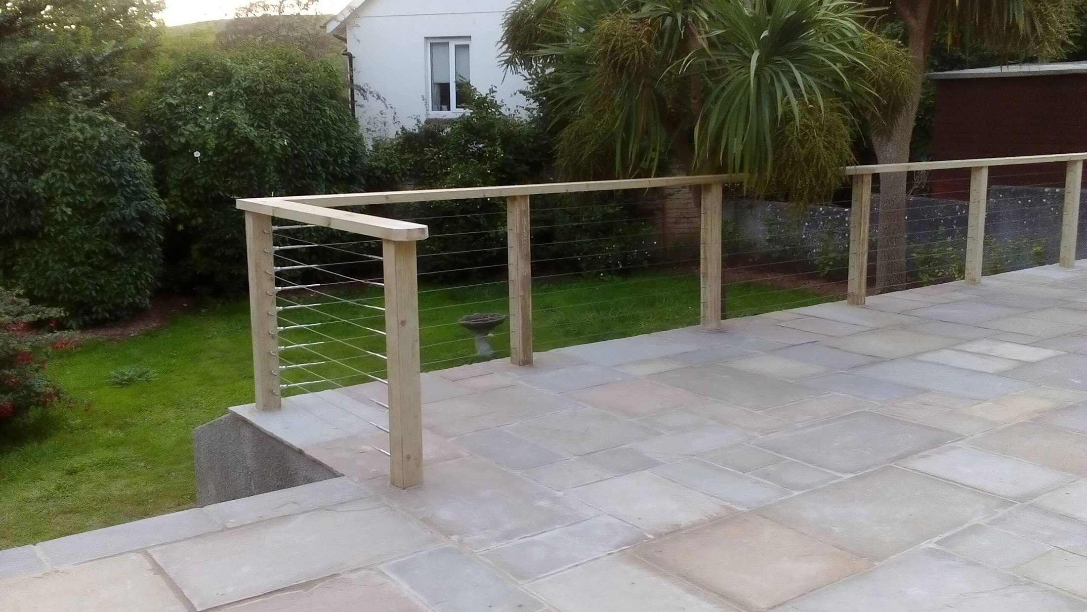 ... Paved Patio Wooden Handrails4 ...